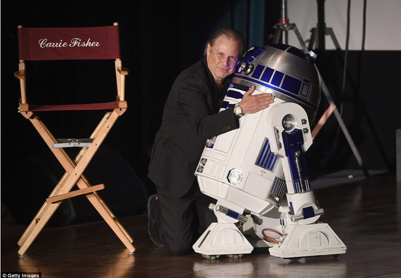 Todd Fisher and R2-D2.