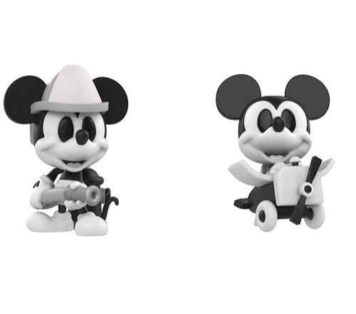 Mini Vinyl Figure: Disney – Black and White Firefighter and Plane Crazy Mickey Mouse 2 Pack, Fall Convention Exclusive